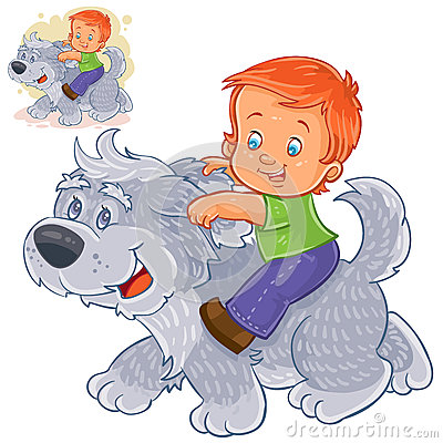 Free Vector Little Boy Sitting On A Big Dog And Holding On To His Ears. Stock Image - 91333481