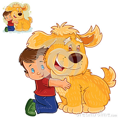 Free Vector Little Boy Sitting On His Lap Next To A Big Dog And Hugging His Hands. Royalty Free Stock Images - 91333529