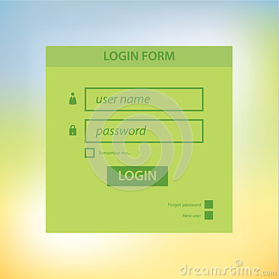 Vector login form template. Modern neutral colors and square blu