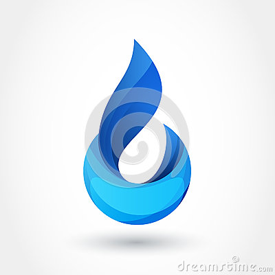 Vector logo design template. Abstract blue water drop, wave shap Vector Illustration