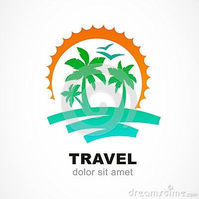 Vector Logo Design Template. Abstract Sun And Palm Tree On Seasi ...