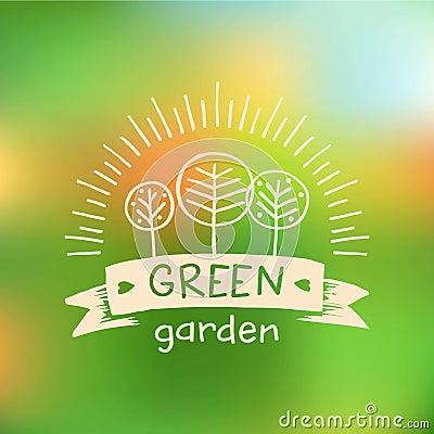 Vector Logo Green Garden.Logo Organic Food. Stock Vector