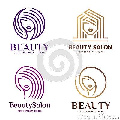Free Vector Logo Set For Beauty Salon, Hair Salon, Cosmetic Royalty Free Stock Photo - 92672875