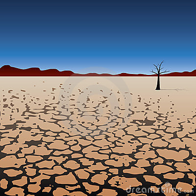 Vector Lonely Tree In Dry Desert Stock Photos - Image: 23625963