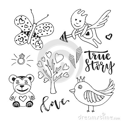 Free Vector Love Day Set Of Cute Doodle Sketch Design Elements. Cupid, Bird, Butterfly And Love Tree Vector Hand Drawn Stock Photography - 72480972