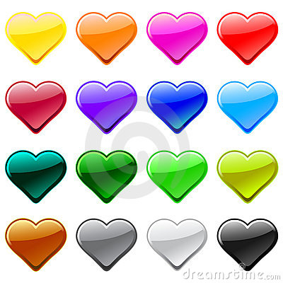Vector love heart button icons, samples