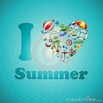 Vector Love Heart Summer Holiday design set on blue wave background.
