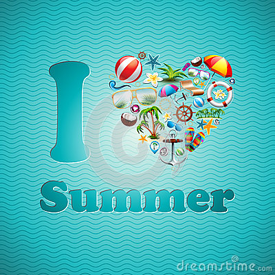 Free Vector Love Heart Summer Holiday Design Set On Blue Wave Background. Royalty Free Stock Photo - 40426395