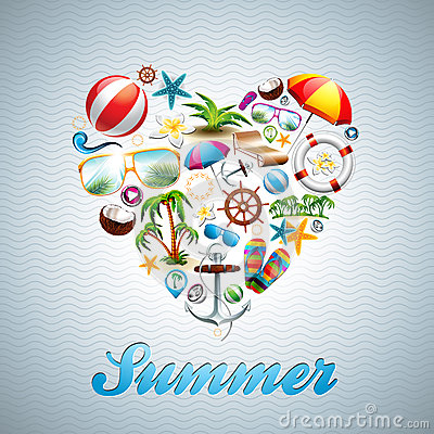 Vector Love Heart Summer Holiday design set on wav