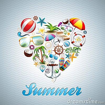 Vector Love Heart Summer Holiday design set on wav