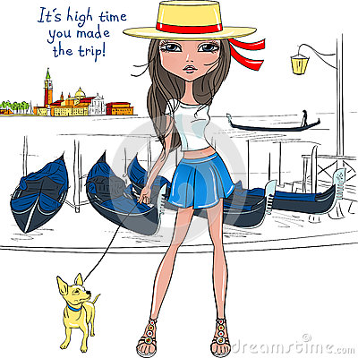 Free Vector Lovely Fashion Girl With Dog In Venice Royalty Free Stock Photography - 56235137
