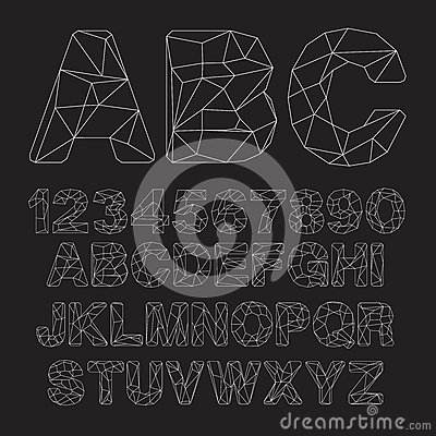 Vector Lowpoly Outline Font Vector Illustration