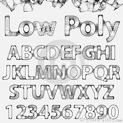 Vector Lowpoly Outline Font Vector Illustration