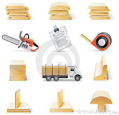 Free Vector Lumber Icon Set Royalty Free Stock Image - 13359146