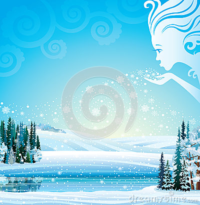 Free Vector Magical Winter Landscape. Royalty Free Stock Photos - 28632668