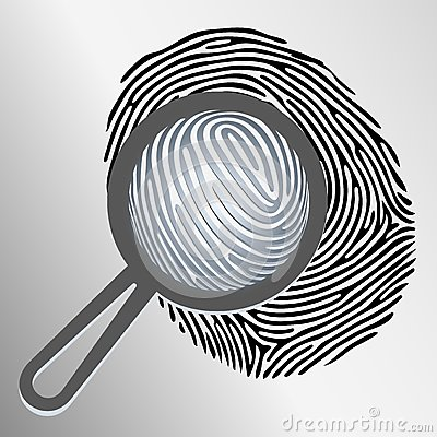 Vector magnifying glass and fingerprint