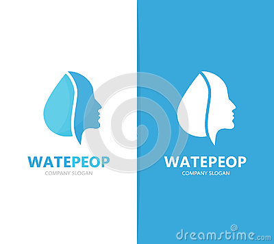 Vector of man and oil logo combination. Face and drop symbol or icon. Unique human and water, aqua logotype design Vector Illustration
