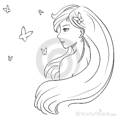 Vector (eps 8) hand drawn sketch illustration in manga style of gently ... Female Drawing Outline