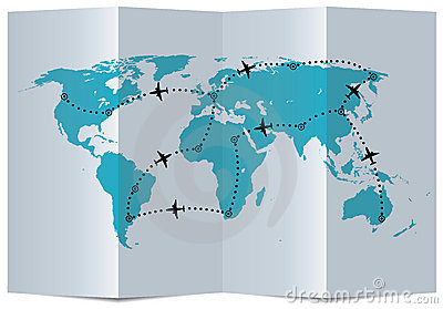 vector map with airplane flight paths