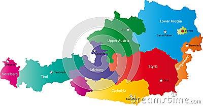 Vector map of Austria