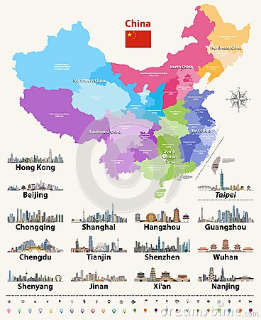Vector map of China provinces colored by regions with largest city skylines. Vector Illustration
