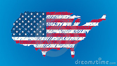Vector map flag of the USA