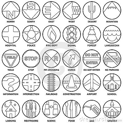 Vector map icons - b&w