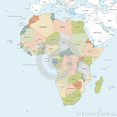 Free Vector Map Of Africa Continent Stock Photos - 124468443
