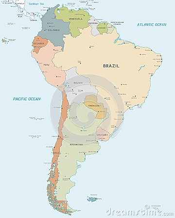 Free Vector Map Of South America Stock Photos - 124468343