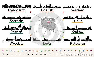 Vector map of Poland with largest city skylines silhouettes Vector Illustration