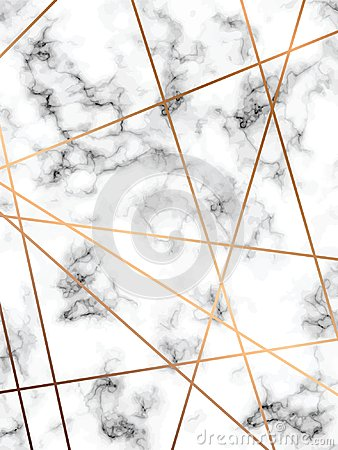 Free Vector Marble Texture Design With Golden Geometric Lines, Black And White Marbling Surface, Modern Luxurious Background Stock Photography - 103429972