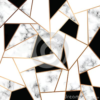 Free Vector Marble Texture Design With Golden Geometric Lines, Black And White Marbling Surface, Modern Luxurious Background Stock Photo - 117469440