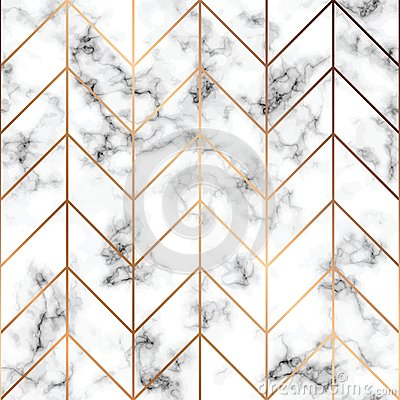 Vector marble texture, seamless pattern design with golden geometric lines, black and white marbling surface, modern luxurious Vector Illustration