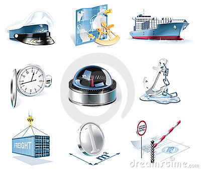 Vector marine transportation icon set