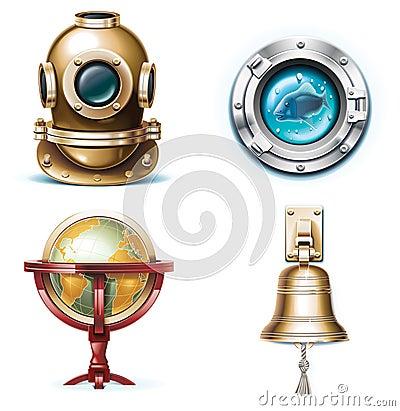 Free Vector Marine Travel Icons. Part 1 Stock Photos - 13637393
