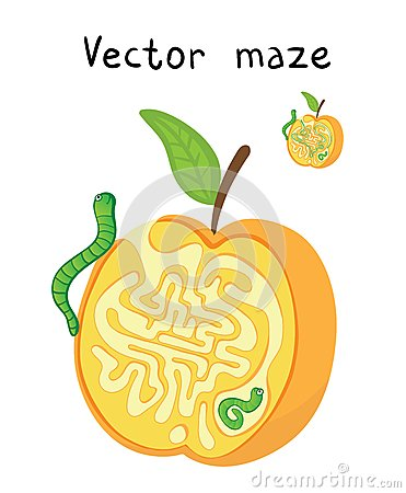 Free Vector Maze, Labyrinth With Apple And Worms. Stock Images - 44293114