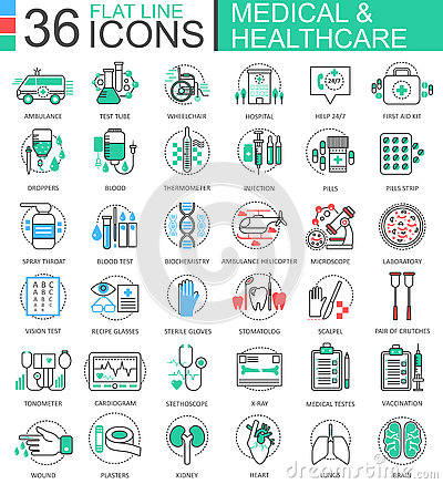Vector medical healthcare medicine modern color flat line outline icons for apps and web design. Vector Illustration