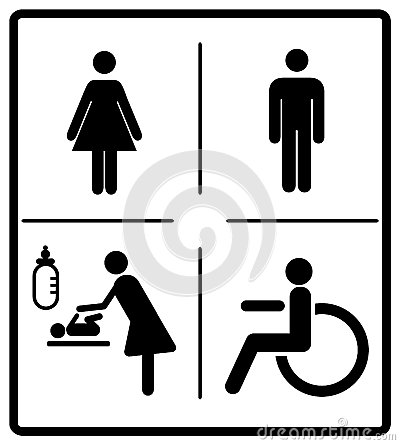 Free Vector Mens And Womens Disabled Restroom Signage Set - Men, Boy, Women Printable Restroom, Toilette Signs Stock Photography - 84419152
