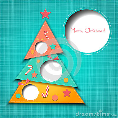 Free Vector Merry Christmas Paper Greeting Card Stock Photography - 35299562
