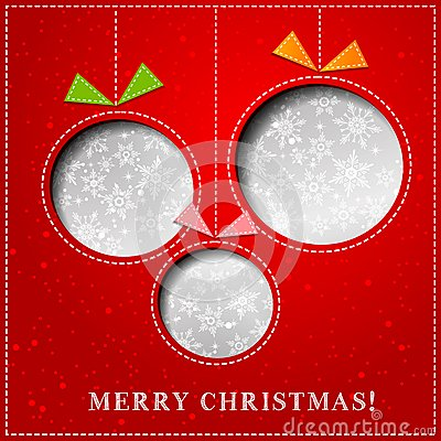 Free Vector Merry Christmas Paper Greeting Card Royalty Free Stock Photography - 35303547