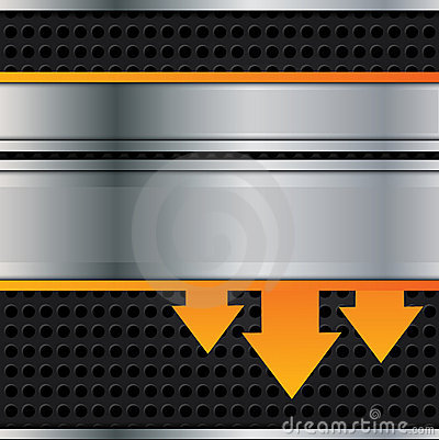 Free Vector Metal Background With Orange Arrows Stock Photography - 21617042