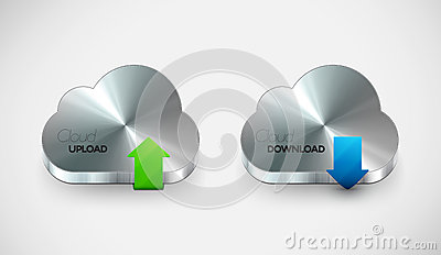 Vector metal cloud icon set