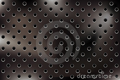 Vector metallic background with holes