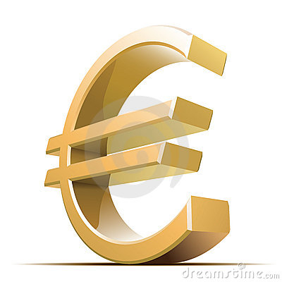 Vector metallic euro sign