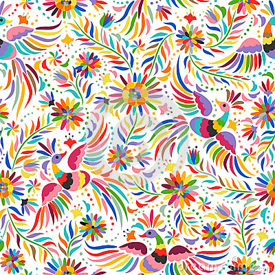 Free Vector Mexican Embroidery Seamless Pattern Stock Photography - 72501952