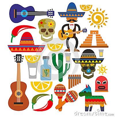 Free Vector Mexico Icons Stock Photos - 35947343