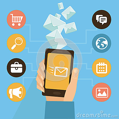 Free Vector Mobile App - Eamil Marketing And Promotion Stock Photo - 33053290