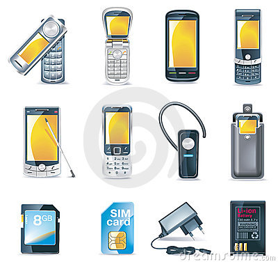 Free Vector Mobile Phones Icon Set Royalty Free Stock Images - 10204879