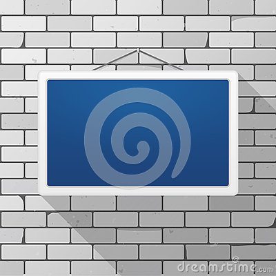 Free Vector Mockup. Simple Blue Sign Hanging On A Gray Brick Wall. White Rectangular Frame.  Royalty Free Stock Image - 84647216