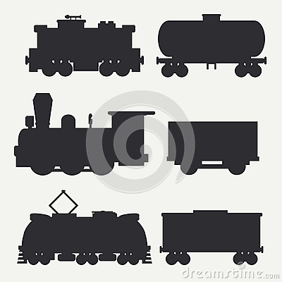 Free Vector Modern And Vintage Trains Silhouettes Set With Cargo Wagons And Tank. Steam, Diesel And Electric Locomotives Royalty Free Stock Image - 93809646